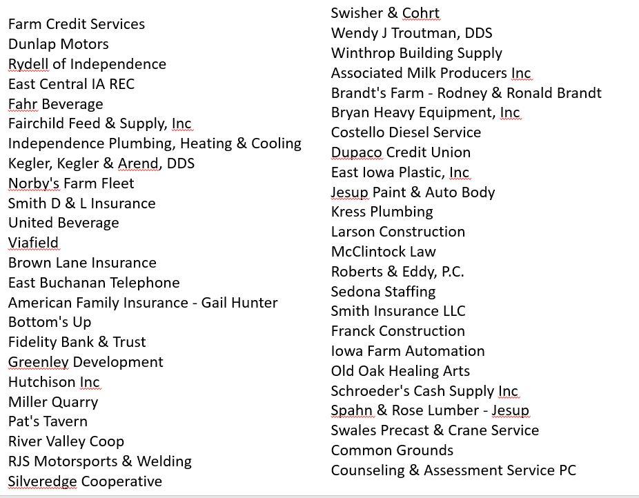 sponsor list names